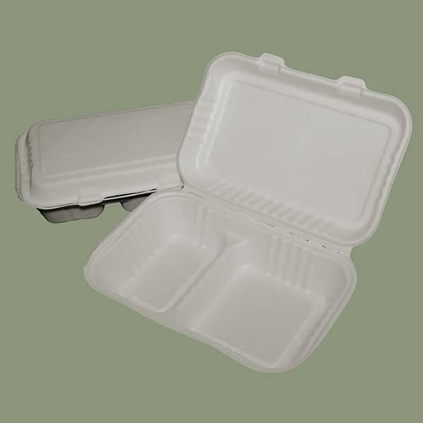 20x16x11 cm 2 Compartment Box BAGASSE Biodegradables