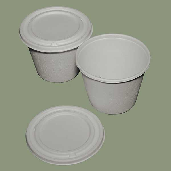 425ml Bucket Bowl with Lid BAGASSE Biodegradables