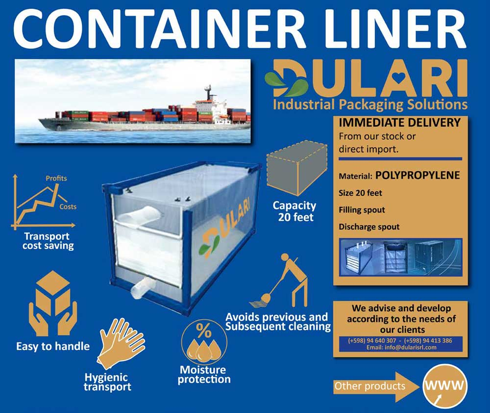 News CONTAINER LINER 20 FEET Nuevo producto container liner de polipropileno